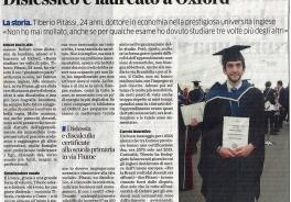 Tiberio Pitassi, 24 anni: dalla diagnosi di dislessia alla laurea ad Oxford