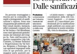 """Corriere della Sera: """"Serina, le cooperative sociali si trasformano: dalle sanificazioni alle mascherine"""""""